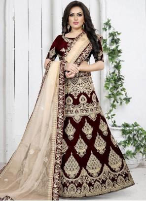 Maroon Reception Velvet Trendy Designer Lehenga Choli