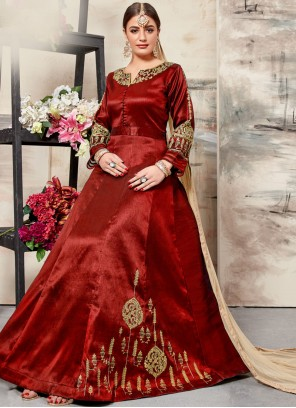 Maroon Resham Art Silk Floor Length Anarkali Suit