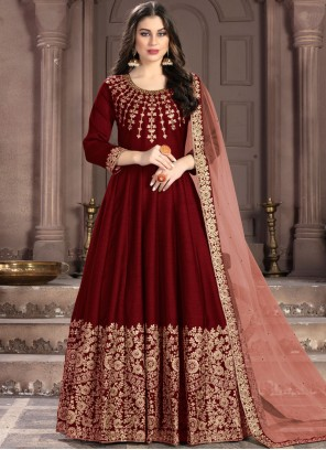 Maroon Resham Fancy Fabric Anarkali Suit