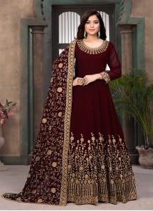 Maroon Resham Faux Georgette Floor Length Anarkali Salwar Suit