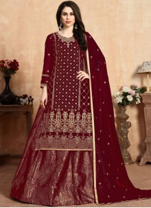 Maroon Resham Wedding Lehenga Choli
