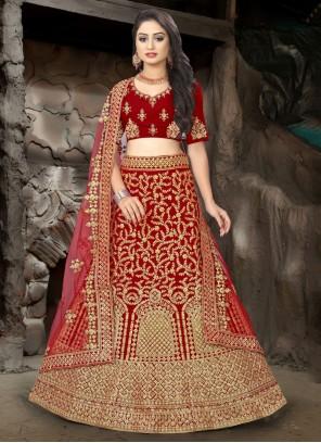 Maroon Resham Wedding Trendy Lehenga Choli