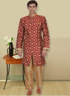 Maroon Sangeet Kurta Pyjama