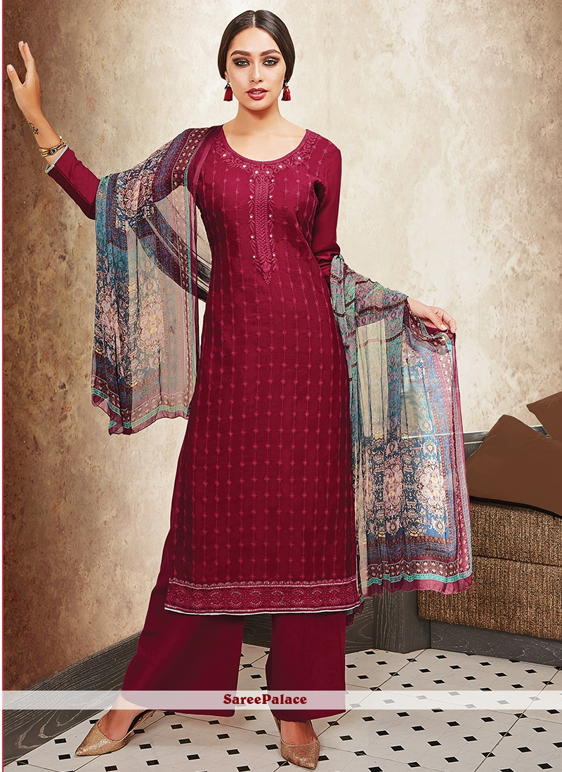 49ab21d8303 Buy Maroon Satin Embroidered Designer Palazzo Suit Online