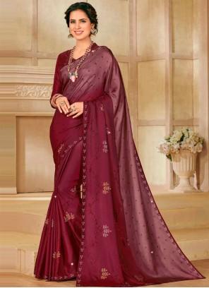 Maroon Satin Silk Shaded Saree