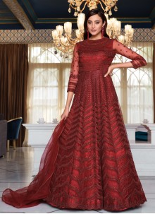 Maroon Sequins Net Floor Length Anarkali Suit