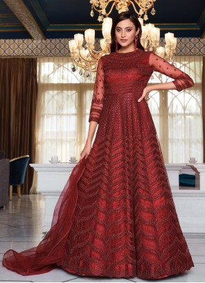 Maroon Sequins Net Floor Length Anarkali Suit