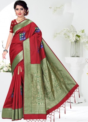 Maroon Silk Casual Classic Saree