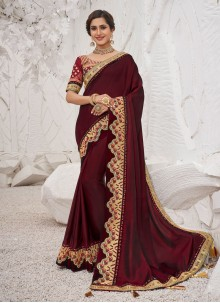 Maroon Silk Embroidered Classic Saree
