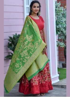 Maroon Silk Festival Designer Floor Length Salwar Suit