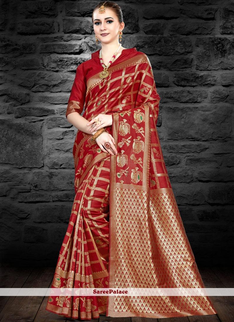 Maroon Silk Traditional Saree