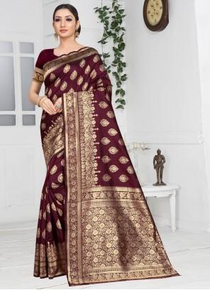 Maroon Silk Weaving Designer Saree