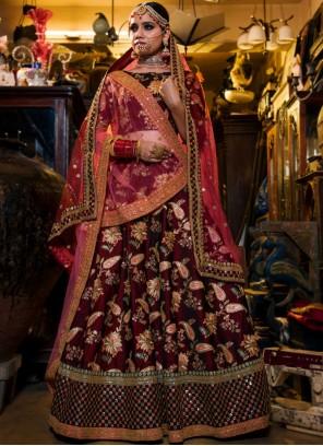 Maroon Tafeta Silk Embroidered Lehenga Choli