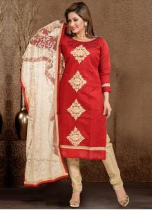 Maroon Thread Work Chanderi Salwar Suit