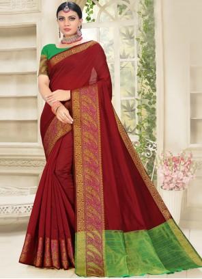Maroon Traditional Saree