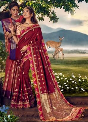Maroon Trendy Saree