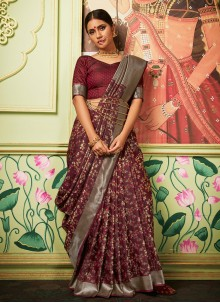 Maroon Weaving Zari Silk Trendy Saree