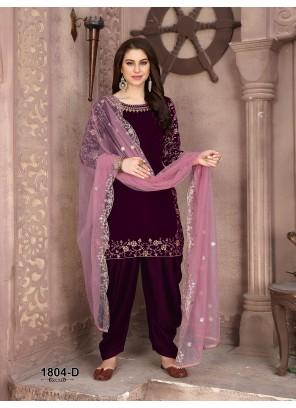 Maroon Velvet Designer Patiala Suit