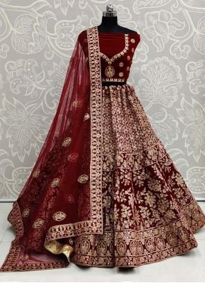 Maroon Velvet Embroidered Trendy Lehenga Choli