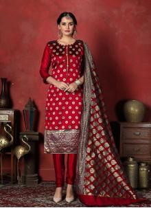 Maroon Weaving Banarasi Silk Designer Suit