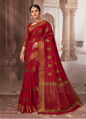 Maroon Weaving Chanderi Cotton Classic Saree