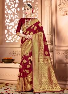 Maroon Weaving Classic Saree