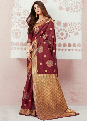 Maroon Weaving Designer Saree