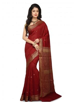 Maroon Weaving Reception Designer Traditional Saree