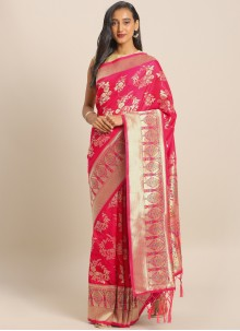 Maroon Weaving Banarasi Silk Saree