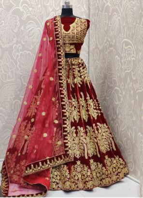 Maroon Wedding Designer Lehenga Choli