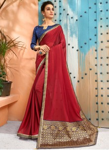 Maroon Woven Faux Georgette Traditional Saree