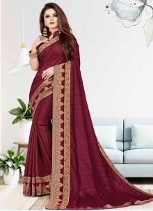 Maroon Woven Vichitra Silk Traditional Saree