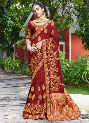 Maroon Zari Designer Saree