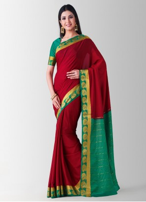 Maroon Zari Designer Traditional Saree