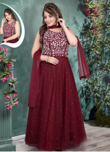 Maroon Zari Net Gown