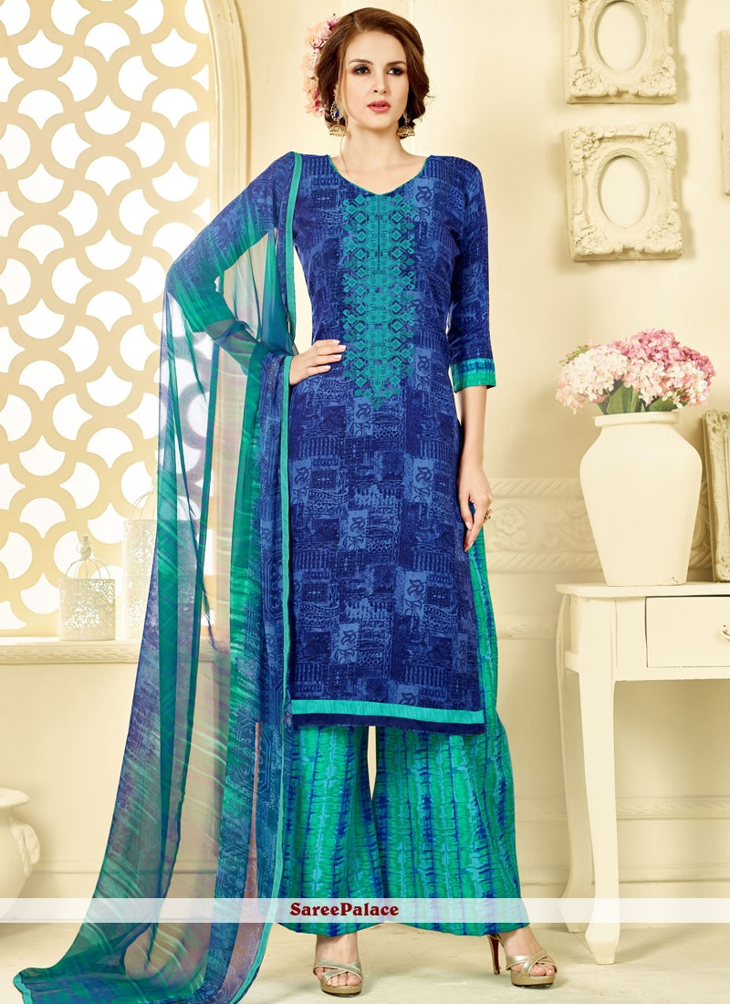 47c0a57e82 Buy Marvelous Blue and Sea Green Palazzo Suit Online