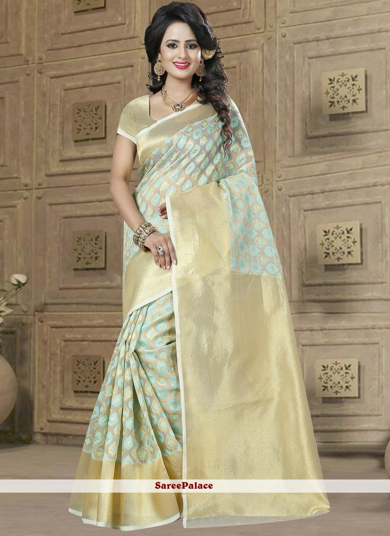 Marvelous Green Weaving Work Classic Saree