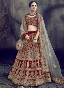 Marvelous Maroon Net Lehenga Choli