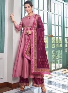 Maslin Silk Embroidered Designer Palazzo Salwar Suit