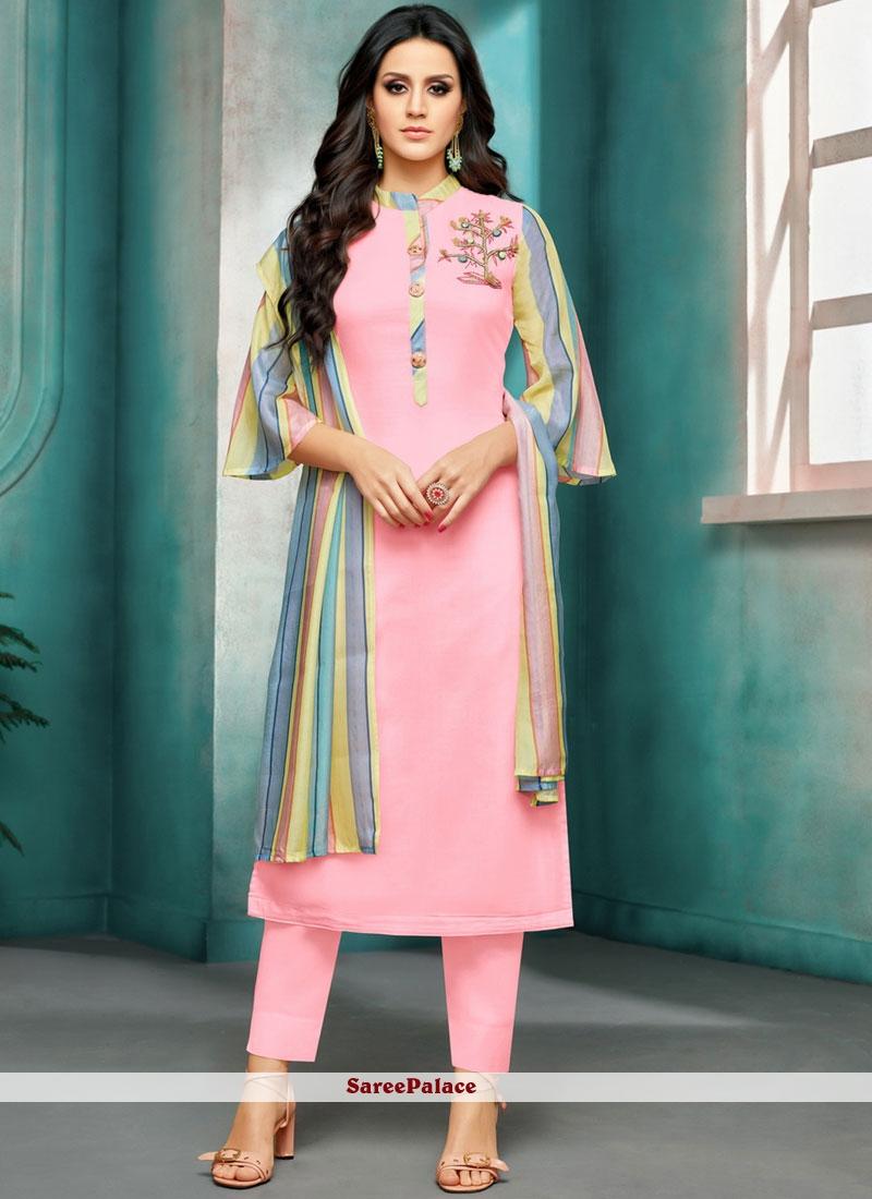 Pink Maslin Silk Embroidered Salwar Suit