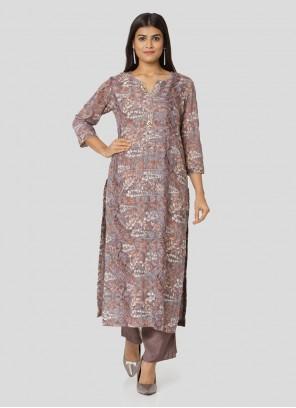 Maslin Silk Printed Salwar Kameez in Multi Colour