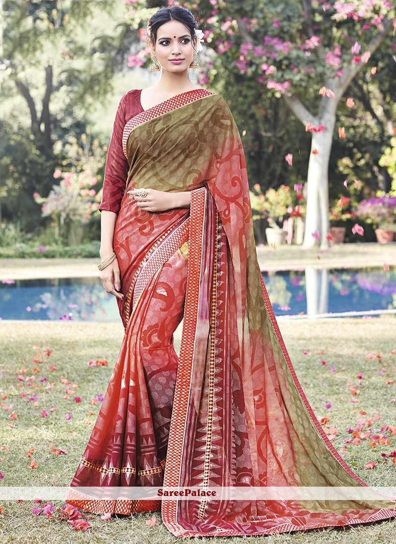 Masterly Embroidered Work Printed Saree