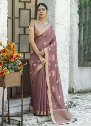 Mauve  Embroidered Classic Designer Saree