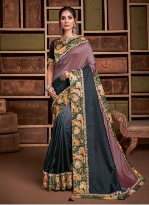 Mauve  Embroidered Silk Classic Saree