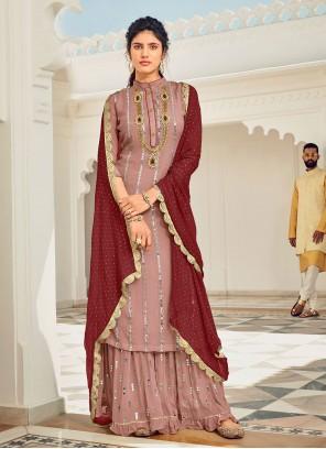 Mauve  Faux Georgette Designer Pakistani Salwar Suit