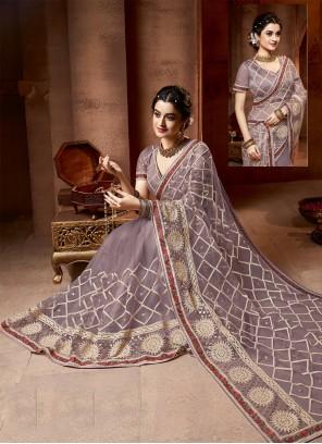 Mauve  Net Embroidered Designer Saree