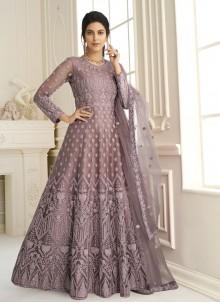 Mauve  Net Floor Length Anarkali Suit
