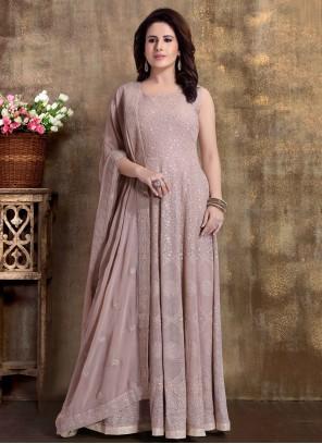 Mauve  Readymade Anarkali Salwar Suit