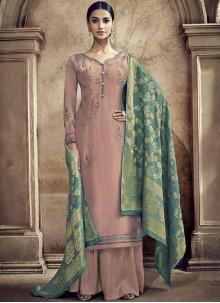 Mauve  Viscose Resham Designer Palazzo Suit