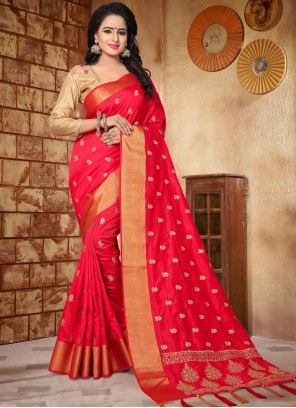 Mesmeric Art Silk Embroidered Work Traditional Designer Saree
